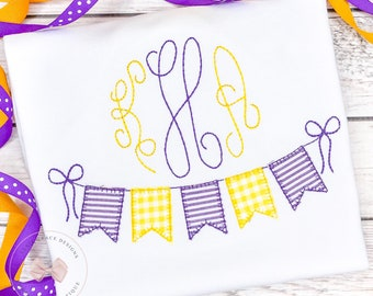 Purple and Gold Bunting Applique Shirt or Bodysuit with monogram