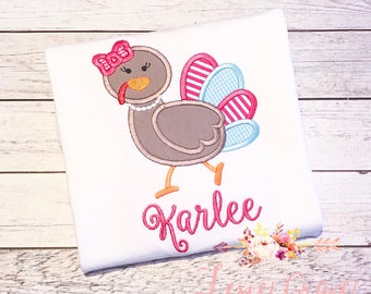 Girly Turkey Thanksgiving Applique Shirt,  for girls, fall