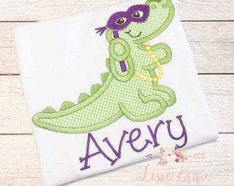Personalized Mardi Gras Applique Shirt for Girls
