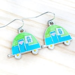 Retro Camper Earrings, Happy Camper, Charm Earrings, Camping Gift, Enamel Charms, Fun Earrings, Lime and Turquoise