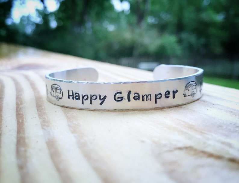 Happy Glamper Custom Bracelet Camping Jewelry Stamped image 0