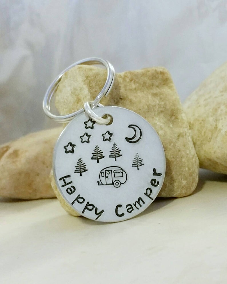 Happy Camper Keychain RV Camper Gift Camping Accessories image 0