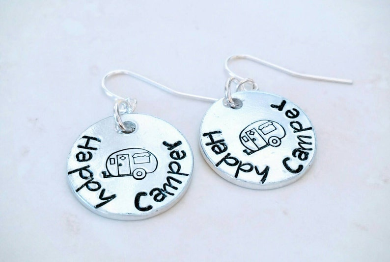 Happy Camper Hand Stamped Earrings with Retro Camper image 0
