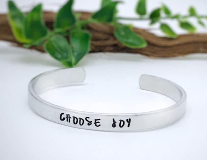 Choose Joy Bracelet Handstamped Happiness Gift Bracelet image 0