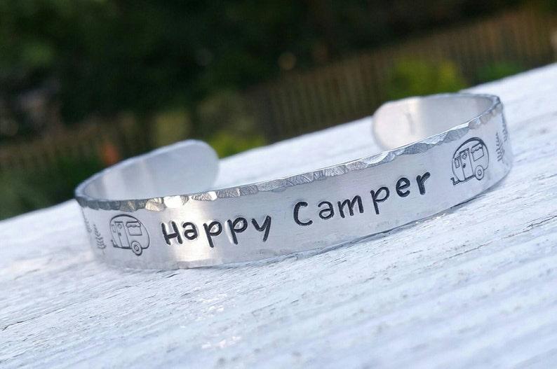 Happy Camper Custom Bracelet Camping Jewelry Stamped image 0