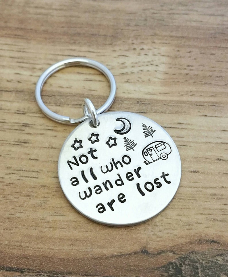 Not All Who Wander Are Lost Hand Stamped Aluminum Keychain image 0