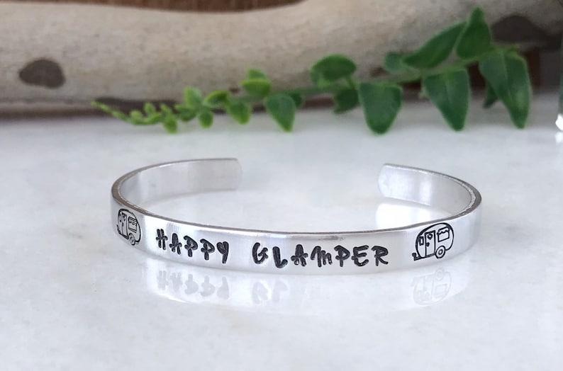 Happy Glamper Hand Stamped Bracelet Retro Camper Gift for image 0