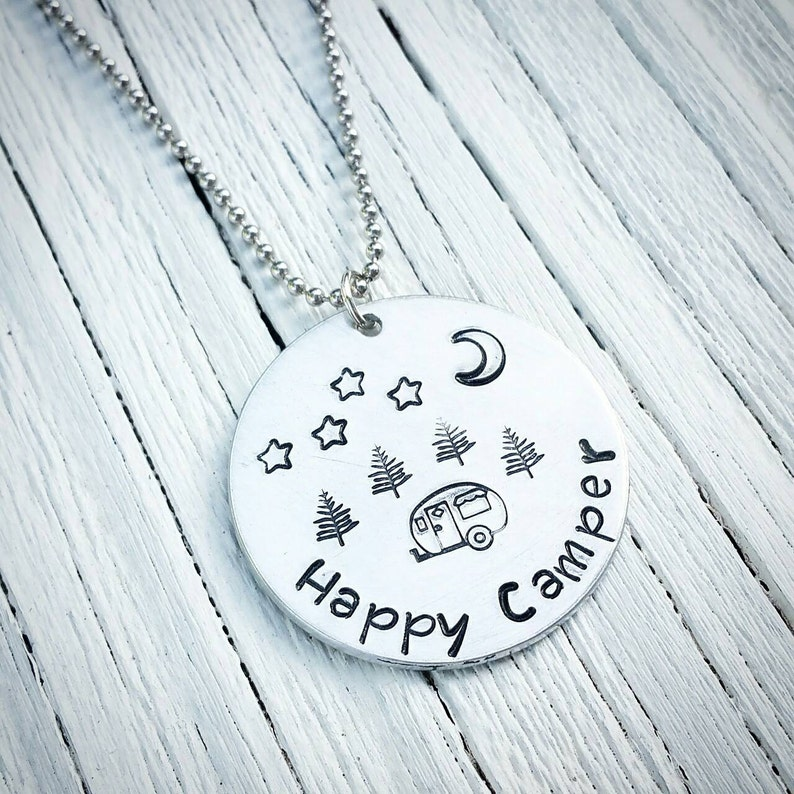 Happy Camper Hand Stamped Jewelry Custom Jewelry Camping image 0