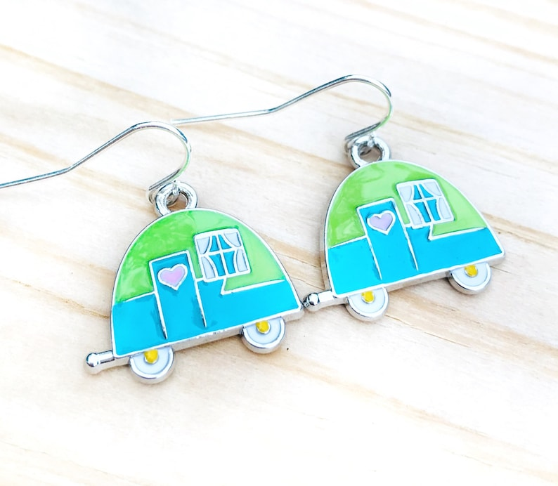 Retro Camper Earrings Lightweight Earrings Teal and Green image 0