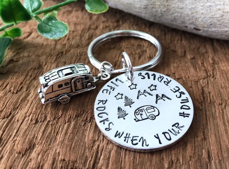 Life Rocks When Your House Rolls Hand Stamped Keychain image 0