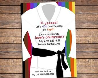 Karate Invitation Birthday Party Invites Digital Printable
