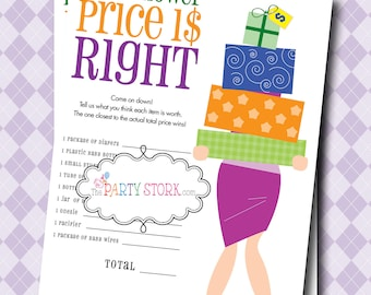 Printable Baby Shower Game Price Is Right Gender Reveal Etsy
