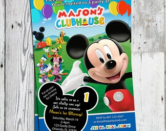 mickey mouse clubhouse invitations printable personalized cartoon birthday party invites blue invitation you print
