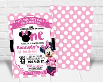 Minnie 1st birthday etsy minnie first birthday invitation minnie 1st birthday invitation minnie mouse first birthday party baby minnie first birthday invite template filmwisefo