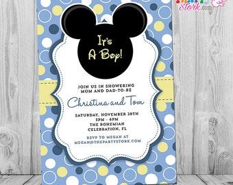 Mickey mouse baby shower invitations etsy mickey mouse baby shower invitation printable baby mickey boy invite pastel blue yellow white polka dots black free back filmwisefo