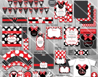 Minnie Mouse Party Decorations Printables Package Kit
