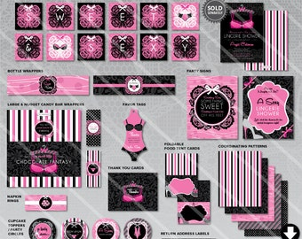 lingerie bridal shower decorations printable wedding party package lacey pink black theme instant download invitation available