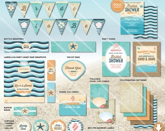 beach bridal shower decorations printable party package beach wedding shower theme instant download invitation available