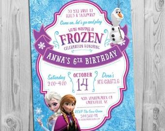 frozen birthday party invitation printable frozen invite etsy