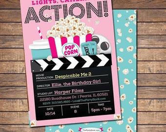 Movie Invitation Party Printable Girls Invite Birthday Invitations Ticket