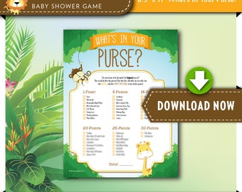 digital instant download printable baby shower game whats in your purse safari theme view our shop for games invites and decor