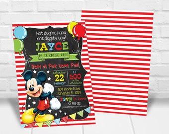 Mickey Mouse First Birthday Invitations Invitation Etsy