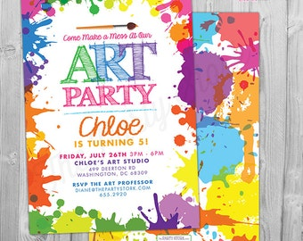 Art paint party invitations printable birthday invitation etsy art paint party invitations art birthday party invitations printable art party invitation art party invite paint party invite digital stopboris