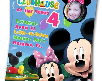 Minnie Mouse Birthday Invitations : Printable Custom Kids Photo Birthday  Invitation, YOU PRINT, Mickey Mouse Clubhouse, Girl Or Boy Invite