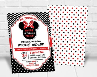 Oh Twodles Birthday Invitation Toodles Invitaton Red And Black Minnie Mouse 3rd Print