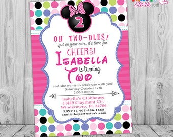 Minnie 2nd Birthday Mouse Bowtique Invitation Invite Boutique Pink Purple Green Teal Blue