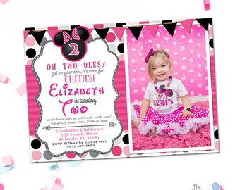 Minnie Mouse Invitation 2nd Birthday With Photo Oh Twodles 1st 3rd 4th Printable