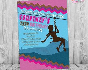 Zipline Invitation Custom Printable Teen Girl Birthday Party Invitations