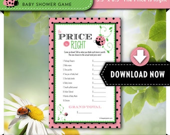 LADYBUG Baby Shower Game Pack Instant Download  7 Shower Games Red Ladybug Pink Flower Modern Baby Girl Cute DYI Printable Polka Dots B107