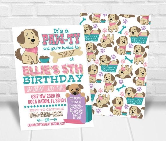 5e925ddd12 Puppy Party Invitation Girls Puppy Birthday Invitation Puppy | Etsy