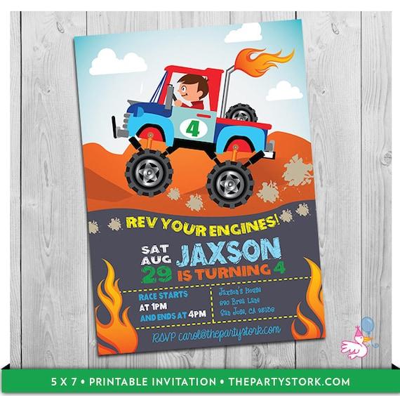 monster truck invitation printable personalized boys monster jam