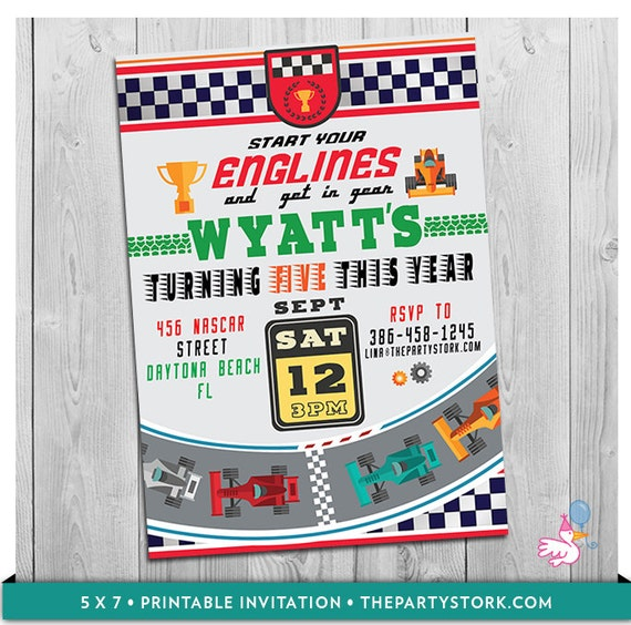 graphic regarding Race Track Printable named Race Motor vehicle Invitation: Printable Custom-made Boys Racing