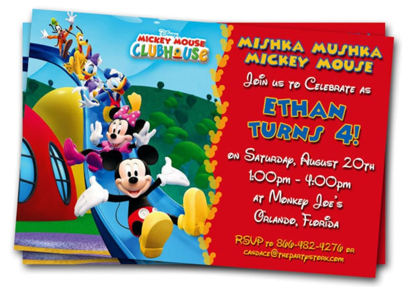 Mickey Mouse Clubhouse Invitations Printable Personalized Etsy