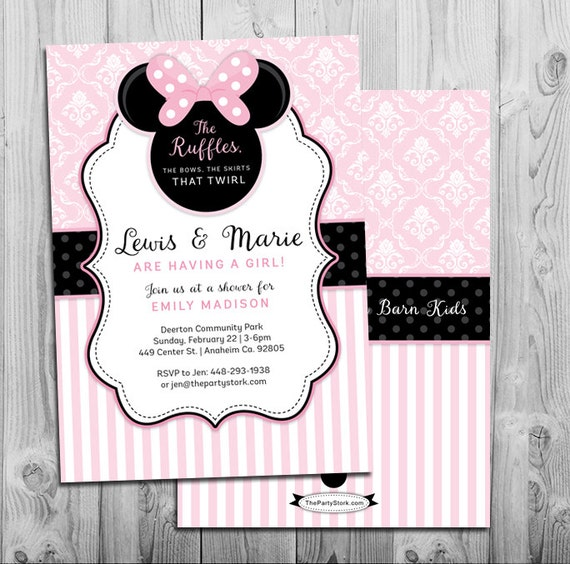 Baby Minnie Mouse Baby Shower Invitations Print your Own Minnie Digital Invite
