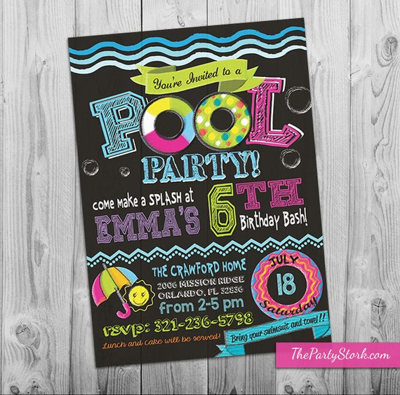 pool party invitation girl pool birthday party invitations pool