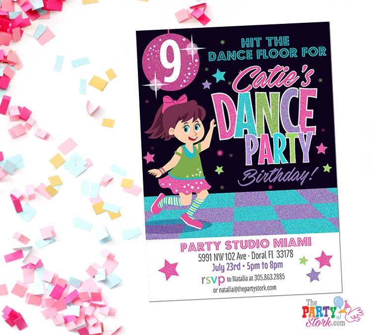 dance party invitation printable birthday invitations for etsy