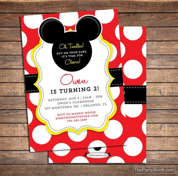 Mickey Mouse Invitation Mickey Mouse Birthday Invitations Etsy