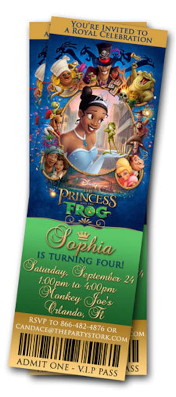 Princess And The Frog Movie Ticket Invite