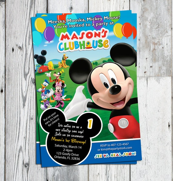 Mickey Mouse Clubhouse Invitations Printable Personalized Cartoon