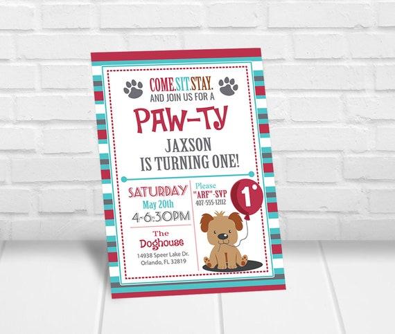 Puppy Invitation Boy Birthday Printable Invites Party Invite Pawty