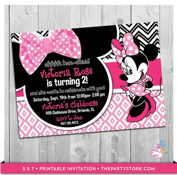 Oh Twodles Birthday Minnie Invitation Mouse Second Two Dles