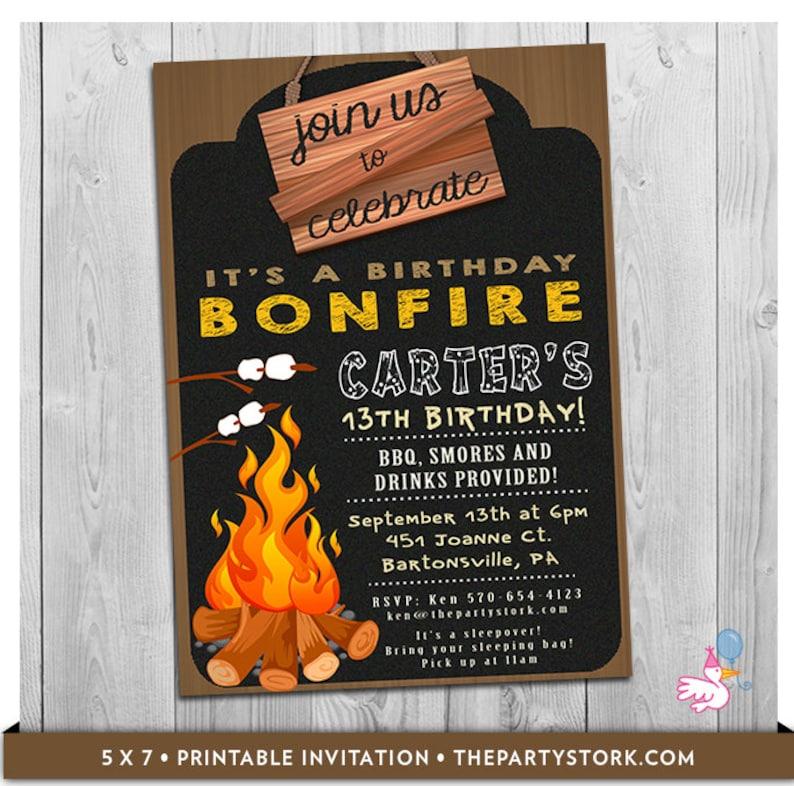 Bonfire Birthday Invitation Campfire Party Invitations Printable Invites