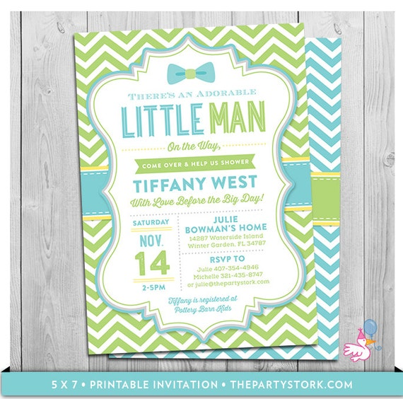 Little Man Baby Shower Invitations Bowtie Theme Printable Boy