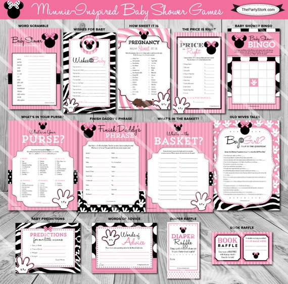 Minnie Mouse Baby Shower Games Minnie Mouse Games For Girl Etsy