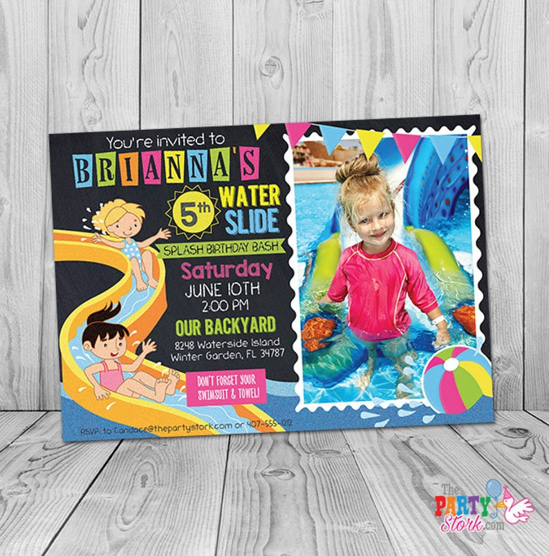 Waterslide Birthday Invitation Printable Waterslide