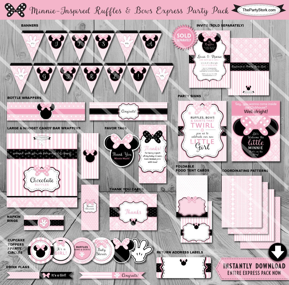 Minnie Mouse Baby Shower Decorations Printable